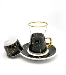 Özcam Kristal 18 Parça Desenli Çay Takımı D-1629