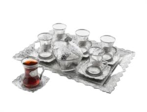 Sena Beyzade 6'lı Çay Seti (Tepsili+Şekerlikli) 160-A-K 11