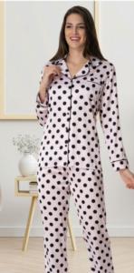 Carpediem Puantiyeli Saten Pijama Takımı-Pudra