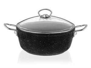 Taç 3441 Granit Döküm Derin Tencere 20 cm Siyah