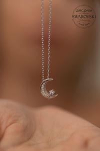 Swarovski Taşlı Ayyıldız Model Gümüş Kolye