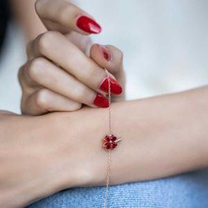 Gümüş Kırmızı Kalpli Yonca Bayan Bileklik