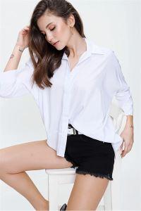 Yarasa Kol Önü Kısa Arkası Uzun Gömlek Beyaz