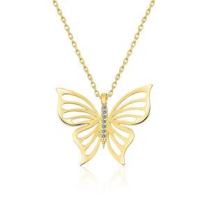 Gümüş Gold Bahar Kelebeği Bayan Kolye