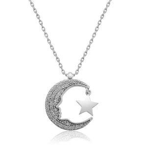 Gümüş Atatürk Silüeti Ay Yıldız  Bayan Kolye