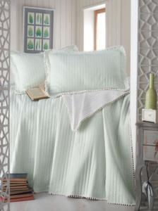 Evim Home Çift Kişilik Ponponlu Yatak Örtüsü Set Mint Yeşili