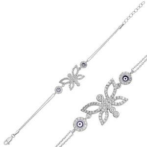 Gümüş Nazarlı Kelebek Bayan Bileklik