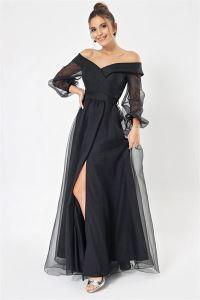 Madonna Yaka Önü Yırtmaçlı Astarlı Organze Uzun Abiye Elbise Siyah