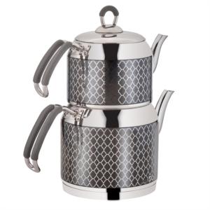 Özlife Hüma Dekorlu Aile Boy Gri Çaydanlık- 111