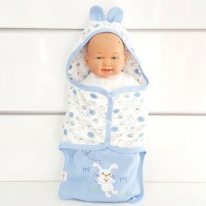 Tavşanlı Açık Mavi Beyaz Erkek Bebek Kundak Battaniye