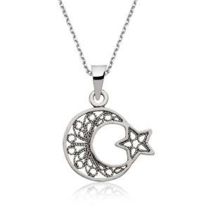 Gümüş Ay Yıldız Bayan Kolye