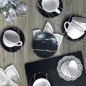 Keramika Mermer Çay Takımı 6 Kişilik 12 Parça - 17950-17951
