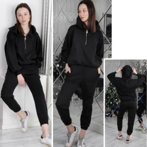 Moda Verona Siyah Fermuar Detaylı Kapşonlu Eşofman Takım