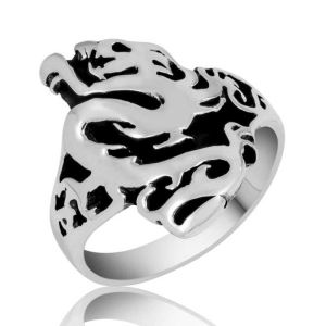Gümüş Flaming Dragon Erkek Yüzük