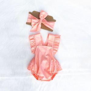 Bandanalı Fırfırlı Pudra Çıtçıtlı Elbise