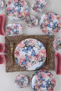 Keramika Mavi Kelebek Kahvaltı Takımı 19 Parça 4 Kişilik 19161