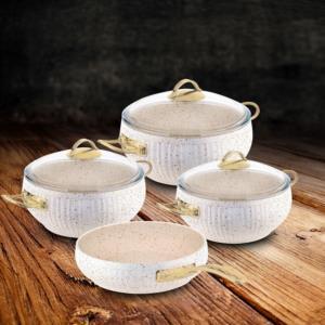 Güral Porselen Piyan 7 Parça Granit Tencere Seti Altın Kulp Beyaz