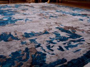 Latex Kaymaz Taban Dijital Baskı Kadife Halı Alaçatı Mavi 180x280 cm
