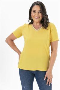 Yakası Simli Büyük Beden Krep Likra Bluz Sarı