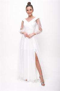 Bağcıklı Balon Kol Tül Uzun Abiye Elbise Beyaz