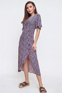 V Yaka Çapraz Düğmeli Çiçekli Viskon Elbise İNDİGO