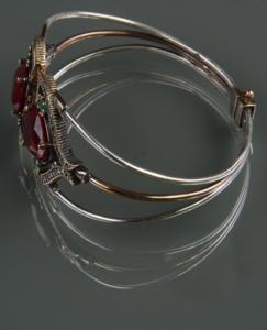 Gümüş Ayarlanabilir Kırmızı Zirkon Taşlı Otantik Bileklik BLK10