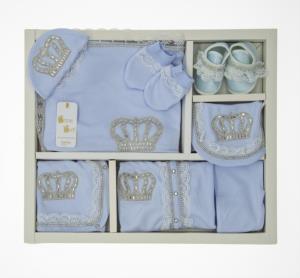 Little Gift Dantelli Kral Taç  Mavi 10 Parça Hastene Çıkış Seti- 244-2