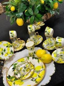 Damla Çay Seti 6 lı Lemon White