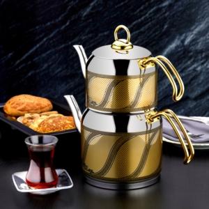 Özlife Enza Dekorlu Gold Mini Boy Sarı Çaydanlık- 155-S