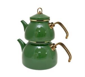 Zarif İnci Grandeur Glory Emaye Çaydanlık Seti- Petrol Yeşili