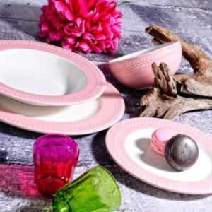 Kosova 24 Parça Porselen Yemek Takımı Pembe Buğday -  276