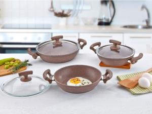 Safinox 6 Parça Eco Granit Sahan Set - Kahve T4301070306