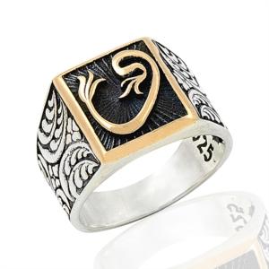 Vav Desenli Gümüş Yüzük EY266