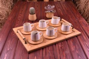 Bambum Cebeci 6 Kişilik Kahve Fincan Takımı Altın Yaldızlı