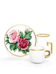 Damla Kulplu Asena Çay Kahve Seti 6+6  Rose White
