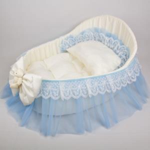 Letizia Başlıklı Tül Yatak Beşik -Mavi 112