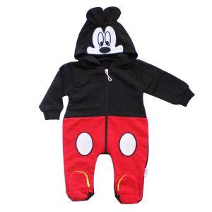 Mickey Kapşonlu Siyah Kırmızı Fermuarlı Tulum