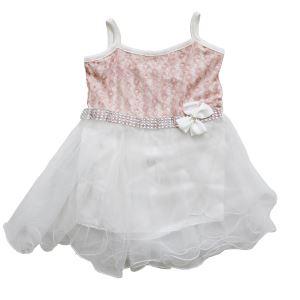 Pudra Çiçekli Beyaz Tüllü Kız Bebek Elbise