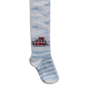 Beyaz Gemili Erkek Bebek Külotlu Çorap