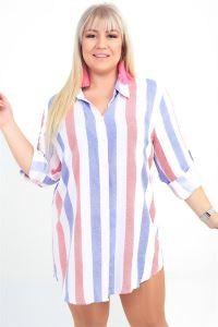 Renkli Çizgili Viskon Büyük Beden Tunik Gömlek Saks