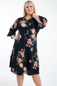 İspanyol Kol Gül Desenli Örme Krep Büyük Beden Elbise Siyah
