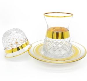 Özcam Kristal 18 Parça Parlak Altın Yaldızlı Çay Takımı D-1600