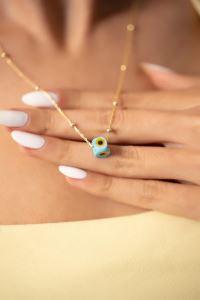 Toplu Model Mavi Nazarlık Altın Kaplama Gümüş Kolye