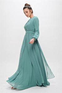 Balon Kol Kemerli Şifon Uzun Abiye Elbise Mint