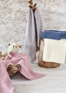 Ecocotton Organik Pamuk Bebek Örgü Battaniye Baby Smile Gri