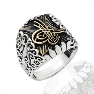 Osmanlı Tuğra Desenli Gümüş Yüzük EY257
