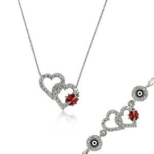 Gümüş Uğur Böcekli Kalp Set
