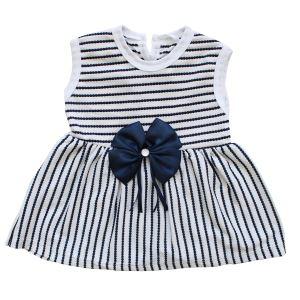 Beyaz Laci Çizgili Laci Kurdelalı Kız Bebek Elbise