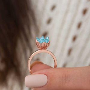 Gümüş Mavi Lotus Çiçeği Yüzük