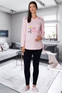 Mecit Hamile Baskılı Pembe Tişört-Tayt Takım